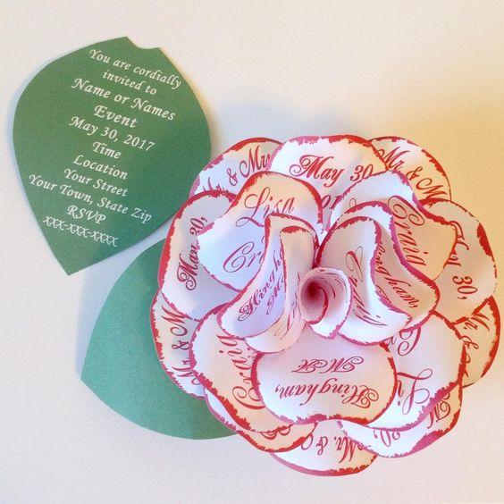 Покана с хартиено цвете