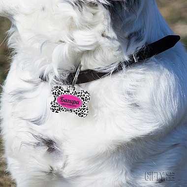 Табелка за куче с име и формата на кокал за подарък в Gifty.BG