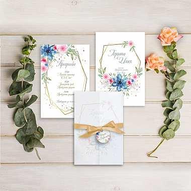 Луксозни сватбени покани с полски цветя | за подарък в Gifty.BG