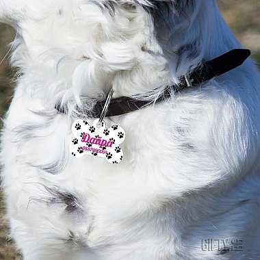 Кучешки медальон с десен на лапички и персонализиран дизайн за подарък в Gifty.BG