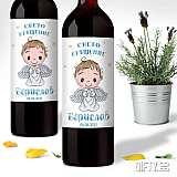 Кръщелни еикети за вино и ракия с ангелче