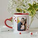 Чаша с дръжка сърце и снимка за Св. Валентин
