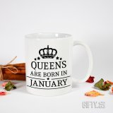 """Чаша с надпис подарък за жена """" Queens are born in ....... """" за подарък в Gifty.BG"""