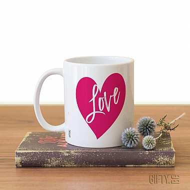Чаша със сърце и надпис подарък за влюбени