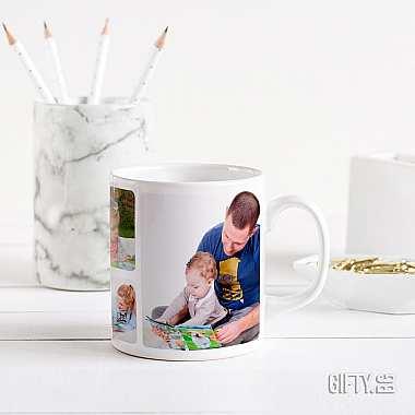 Това е чаша със снимки и кратко послание.