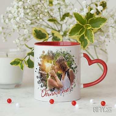 Чаша за влюбени със сърце и снимка за Свети Валентин