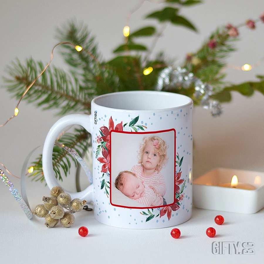 Коледа чаша със снимка и надпис - вземете за подарък