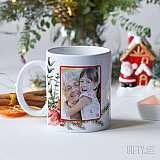 Коледна чаша със снимка за подарък на баба или майка