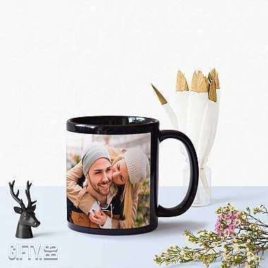 Подарък черна чаша със снимка и надпис по поръчка
