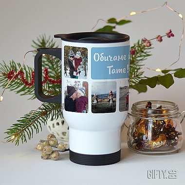 Термо чаша с дръжка и снимки за подарък в Gifty.BG