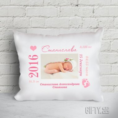 Бебешка възглавничка визитка със снимка  за момиче