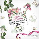 Покана (пъзел) за кумове на сватба с цветя