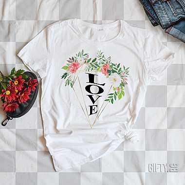 Тениска с цветя и надпис LOVE за подарък в Gifty.BG