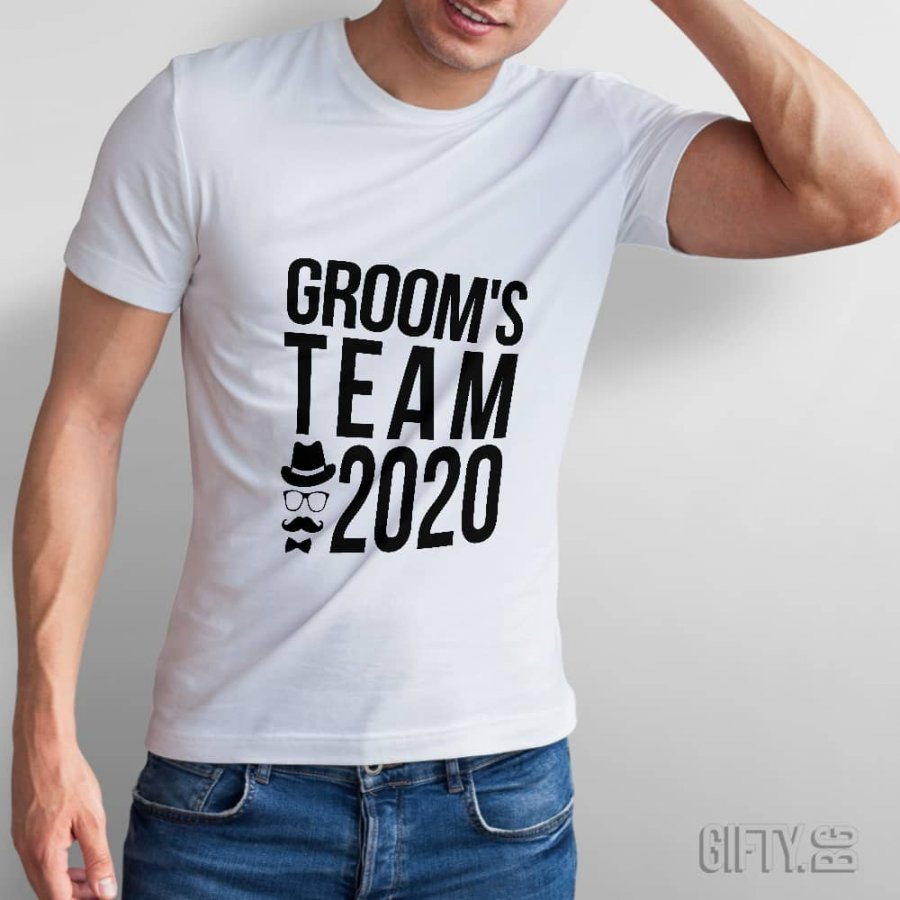 Тениски за ергенско парти с надпис по избор - Groom`s Team